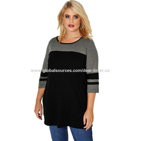 China New Style Sleeved Women Plus Size Top Plus Size Blouses On