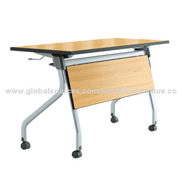 Flip top table with melamine top and metal leg