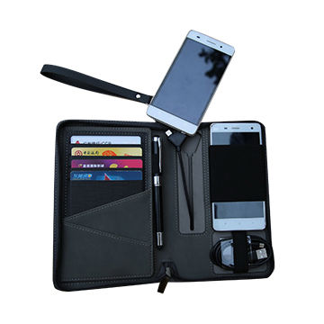 Power bank bags wallet, PU, handtake wallet, large capacity, suitable for travel and business