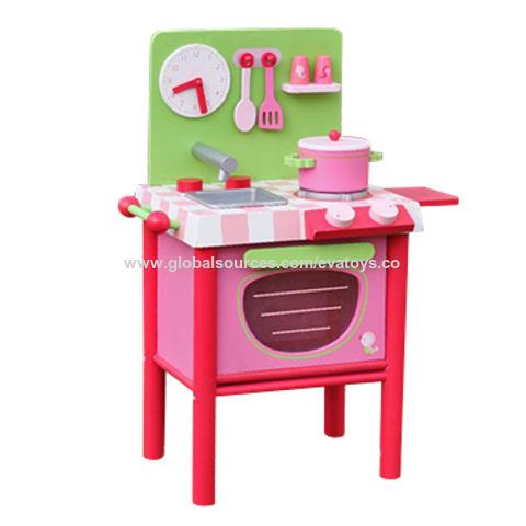 China 2017 new design mini pink wooden girls play kitchen ...