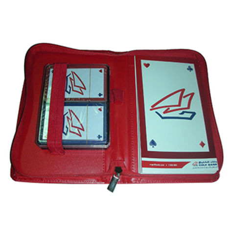 Taiwan Two decks cards, score notepad in PU pouch