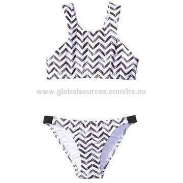 Girl's bikini,Wide shoulder straps,High neckline