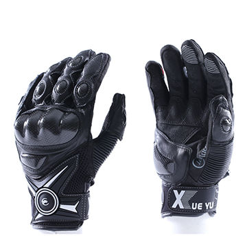 China Motorcycle Glove, Made Of Cow Leather, Lycra and Clarino