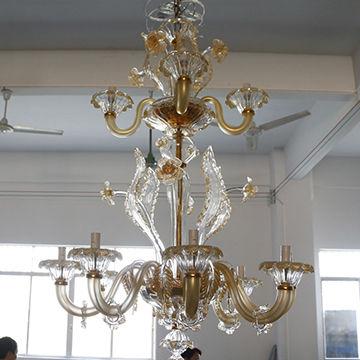 European art glass chandelier