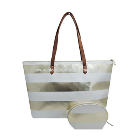 Stripe designed beach bag set made in metallic PVC