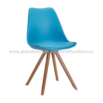 China Plastic seat wooden legs tulip stylish fashionable chair