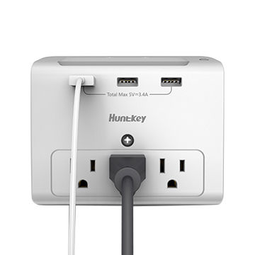 SMD307 Huntkey USB Wall Mount 3-outlet Surge Protector with night light