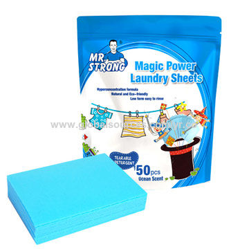 Laundry sheets in bag packing, 50 sheets/bag