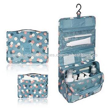 Polka Dot Waterproof Travel Kit, Bathroom Storage Cosmetic Bag, Toiletry Bag with Hanging Hook