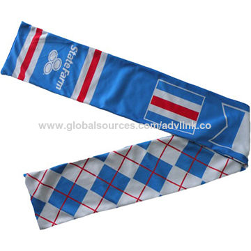 China Hot sale custom design and full color printing sports scarf for football fan