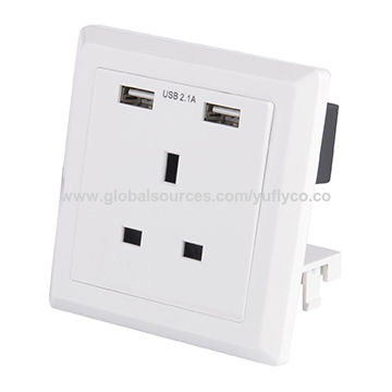 UK standard top quality 13A 1 gang 2 output USB wall power switched socket