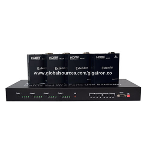China HDMI matrix 4x4 with UTP extender, support HDBaseT and IR control RS232