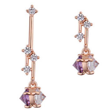 2017 new fashionable luxury design platinum-plated bride jewelry cubic zirconia drop earrings