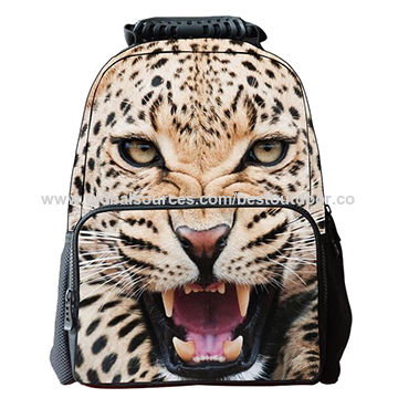 Unisex 3D Animal Print Felt Fabric School Backpack for School Kids