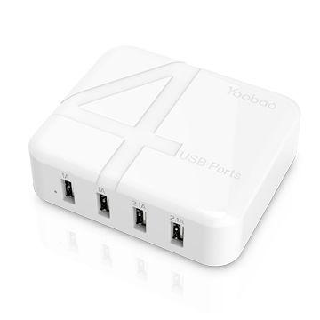 USB Charger Plug 4-Port Desktop Charger with UK EU US Travel Adaptor