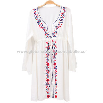 Embroidered Tribal Beach Coverup, Made of 100% Viscose