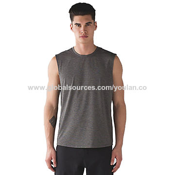 Men's vest, tank top, made of 100% polyester, with printing at front and back side