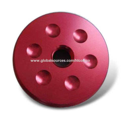 CNC Machining Parts, Made of Aluminum with Red Anodize Surface Treatment