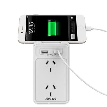 SAC207 5V2.1A Wall Charger 2-outlet Wall Charger with Cradle Ledge