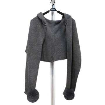China Women's cashmere knitted sweater with bulb ball, hoodie, knitted cardigan