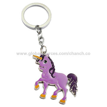 China Chic Metal Alloy Keychains with Unicorn Shape and Enamel Effect, Various Colors are Available