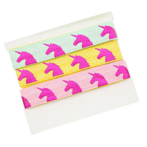 Colorful Elastic Webbing with Unicorn Hot Printed, Multi-functional, Comes in Different Colors