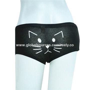 Cute Animal Cat Printing Cotton Spandex Women's Boyshort Briefs Underwear