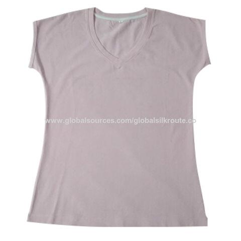 India Women's Short-sleeved V-neck T-shirt, Made of Organic Cotton