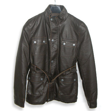 China Men's Washable PU Jacket with Zipper Front and Four Patch Pockets