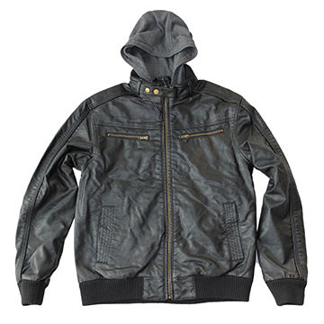 China Gray Washed PU Jacket with Charcoal Jersey Hood and Anti-brass Snaps to Collar Stripe