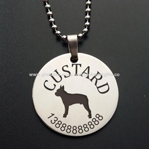 china pet id tag round shaped pet tag stainless steel custom pet