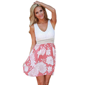 Lace Tank Pink Floral Print Skirt, Skater Dress, Made of Polyester+Spandex, ODM/OEM Order is Welcome