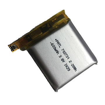 High voltage/capacity rechargeable 3.8V/600mAh 702731 Li-polymer battery for GPS portable devices