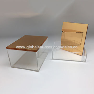 Taiwan Stackable acrylic luxury jewelry box with rose gold mirror lid organizer