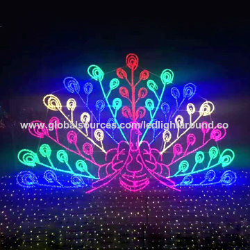 Large peacock outdoor display silhouette lights for garden square decoration, CE/GS/UL/SAA certified