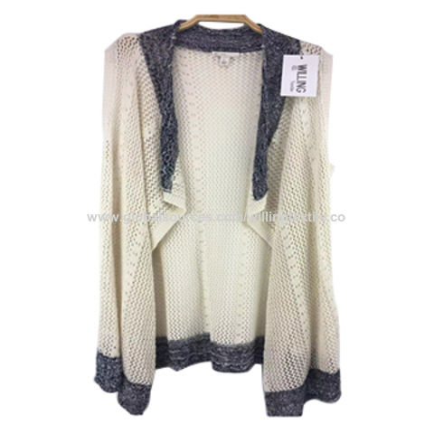 China Ladies' knitted cardigan with ombre stripes