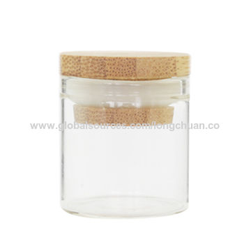 China Mini Clear Glass Bottles Bamboo Lids for Arts & Crafts, Jewelry, Message, Wedding Wish