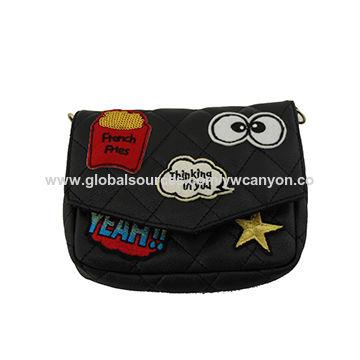 China 2016 fashionable, women's, cute patch, PU leather wristlet handbags, cross body chain
