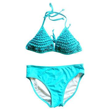 China 2017 Brazilian Sky Blue Triangle Bikini Set for Sexy Young Ladies with Flounced Cups
