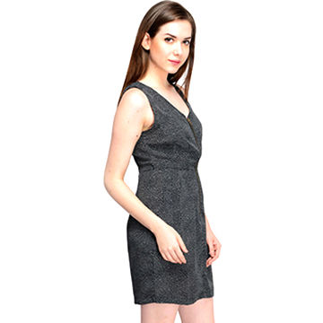 India Black White Dot Printed Women's Short Dress