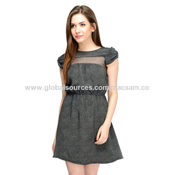 India Black White Dots Women's Short Dress