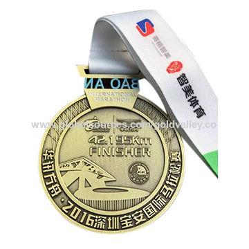 China Custom 3D award metal running sports matt finishing medal with ribbon