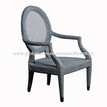 Philippines Garden Loui Accent Chair, Made of Fiberglass Frame Woven with Polyethylene Plastic