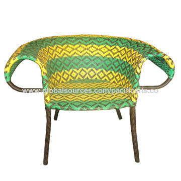 Philippines Manila Chair, Made of B.I tube Frame Woven with Polyethylene Plastic
