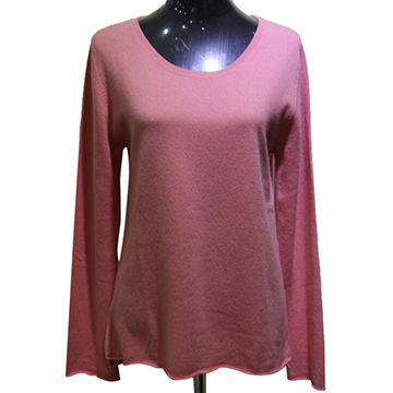 China Crew neck charming lady worsted cashmere sweater