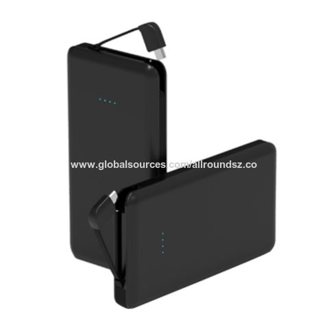 China Built-in Cable Compact Design for 10,000mAh Li-polymer Battery Power Pack