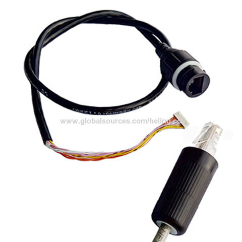 IP67 waterproof RJ45 connector assembly with Cat5e Ethernet cable, for IP camera