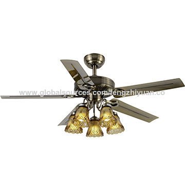 China ceiling fan with 5 lighte275transparent flower glass shade aloadofball Images
