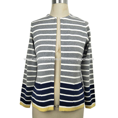Ladies' knitted cardigan with ombre stripes