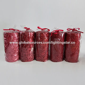 China Art Candles, Red Glitter Christmas Pillar Candles